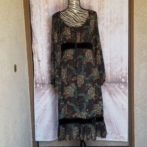 NWOT Ann Taylor loft brown/ teal boho dress size 8